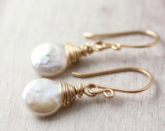 Gold Wrapped Coin Pearl Earrings
