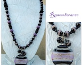Rememberance Handmade Lampwork and Stone Bead Necklace