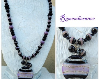 Rememberance Handmade Lampwork and Stone Bead Necklace free earrings