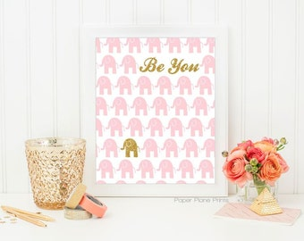Pink and Gold Nursery Decor, Girls Nursery Art, Baby Girl Wall Art, Girls Room Print, Elephant Nursery Decor, Baby Girl Room Decor 8x10