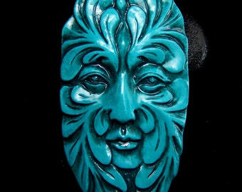 Large Teal Greenman Face Cab Cabochon handmade polymer clay 65x35mm