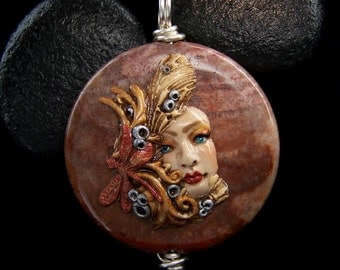Dragonfly Goddess on Fossil Coral Pendant or Bead handmade OOAK Polymer Clay and stone jewelry