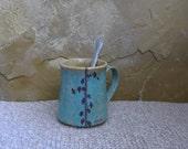 Mug Cup - Handmade Stoneware Ceramic Pottery - Blue Celadon and Sun Yellow - Ginkgo Breathe - 12 ounce