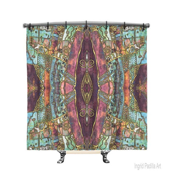 Artsy Boho Shower Curtain Shower Curtain Burgundy Shower