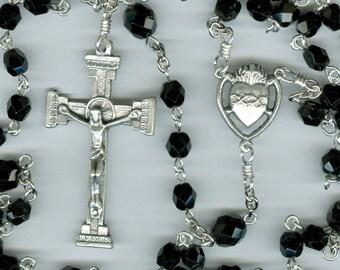 Simple Black Czech Glass Sacred Heart Rosary ~ Customizable