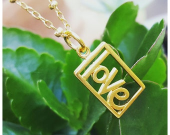24K Gold Love Charm - DISCONTINUED - Vermeil Rectangle Love Word Charm - Available With or Without Gold Filled Chain - Limited Stock