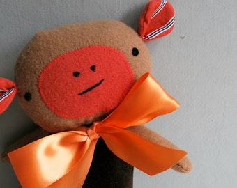 Monkey Plushie in Brown Velveteen and Tan Wool