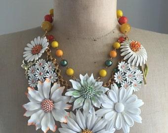 Vintage Enamel Flower Brooch Bib Statement Necklace - Daisy