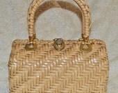MID-CENTURY WICKER - vintage 1960s blonde woven wicker basket box purse