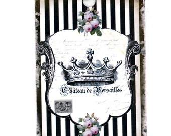 French Gift Tags , Crown Tags , Vintage French , Black Striped , Black and White Tags , Shabby and Chic Tags , Cottage Chic Tags