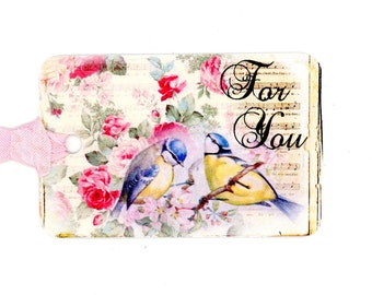 Tags , Bluebird Gift Tags , For You Tags , Vintage Style , Shabby and Chic , Pink Rose Tags , Blue and Yellow Birds