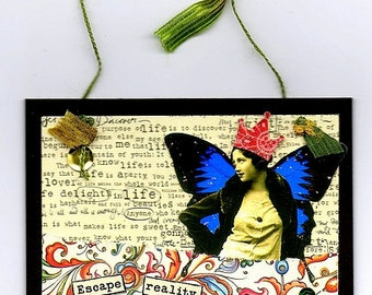 Mixed Media Collage - Butterfly Girl -  4x4 Inches