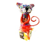 Shelf sitter  colorful cat , cat Sculpture, original cat  design,polymer clay cat  , cat decor , cat lover , cat design