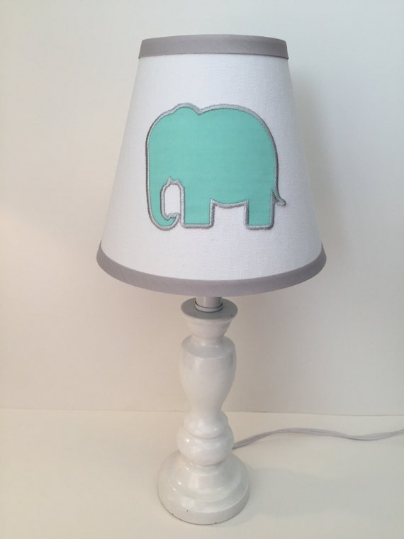 applique elephant nursery lamp shade other colors available. Black Bedroom Furniture Sets. Home Design Ideas