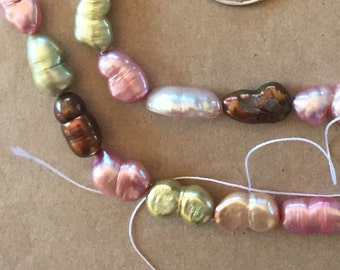 SALE Now 6 down from 10. Freshwater Peanut Pearls in Tones of Copper, Pink, Green and Ivory   (Item # 5081)