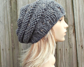 Graphite Grey Beret Womens Hat - Oversized Beehive Beret Hat - Grey Knit Hat Grey Hat Grey Beret Grey Beanie Chunky Knit Hat
