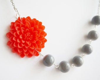Statement Necklace,Red Flower Necklace,Grey Necklace,Beaded Necklace,Bridesmaid Jewelry Gift,Flower Necklace,Grey Jewelry,Red Jewelry,Gift