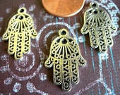 """Hamsa Hand of Fatima Charms Silver 25mm x 15mm (1"""") lot of 10 Amulet for Evil Eye"""