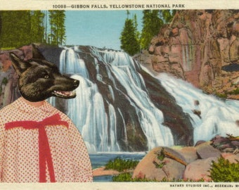 Yellowstone Postcard, Waterfall Decor for Bathroom, Black Wolf Gift for Animal Lover, Original Collage Art for Lodge Wall, Cute Decoration