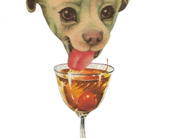 Puppy Dog Wall Art, Original Collage, Funny Office Artwork, Booze Drinking Art for Bar, Dog Humor, Silly Animal, Cocktail Time, Happy Hour