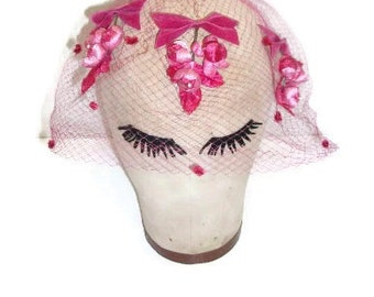 Vintage Hot Pink Hair Net Veil With Flower Clusters
