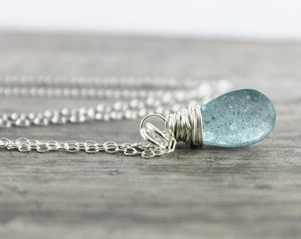 Moss Aquamarine Necklace, Sterling Silver Necklace, Small Pendant Necklace, Light Blue, Aquamarine Gemstone Necklace, March Birthstone
