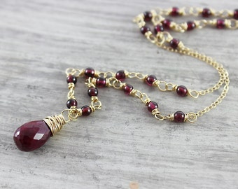 Ruby and Garnet Necklace, Ruby Gemstone Necklace, Dark Red Necklace, Gold Filled Necklace, Wire Wrap Necklace, January Birthstone Jewelry