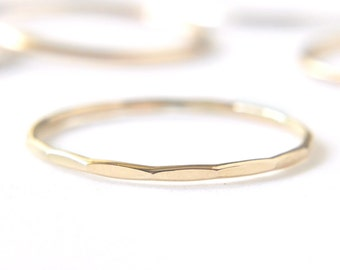 Hammered gold filled stacking ring - thin delicate gold ring - faceted grooved or hammered texture - dainty 1mm stackable ring /Signe 1mm