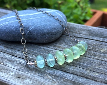 Prehnite Sterling Silver Gemstone Necklace 16 1/2 inches long