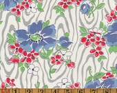 Vintage Feedsack Fabric - Blue & Red Floral on Grey Woodgrain - Flour Sack Quilting Cotton 1930s 1940s