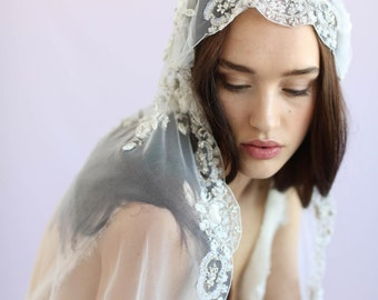 Juliet veil - Embroidered floral and beaded juliet veil - Style 635 - Ready to Ship