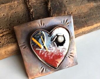 Enamel Heart Necklace, Heart Necklace, Metalwork Necklace, Cubic Zirconia, Copper Necklace, Unique Necklace, Valentines Gift, Women's Gift