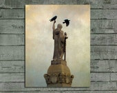 Stone Angel Photograph, Crows In Motion, Gothic Print, Rooks, Aged Image, Pro Lab Picture - Soothing Moments