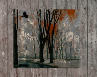 Crow, Professional Photo, Metallic, Surreal Art, Dark Hues, Forest Trees, Raven Flying, Blackbird Woodland - Gray Steel