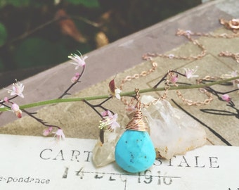 S k y l a r k... Sleeping beauty turquoise, calm, chakra, boho, dainty, protection, minimalist, rose gold necklace FREE SHIPPING