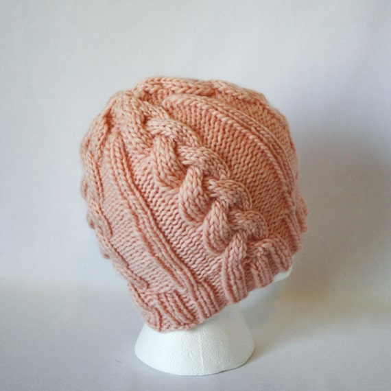 Cable Car Hat knitting PATTERN warm bulky knit cabled cable