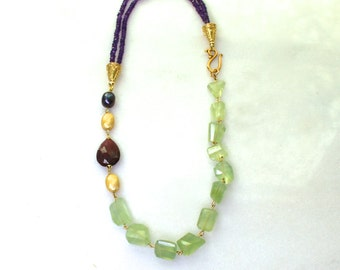 Any Which Way Prehnite Nugget, Royal Amethyst Necklace in 22kg Vermeil...