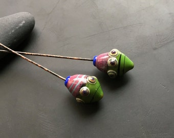 Handmade lampwork glass bead headpins by Lori vivid chartreuse and orchid pod charm earring artisan supply paired dangles