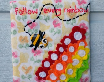 Happy Follow Every Rainbow wall hanging wall art busy bee flowers
