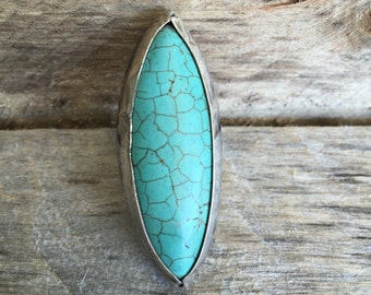 Turquoise Statement Ring, hammered sterling silver marquise chunky jewelry handmade southwestern
