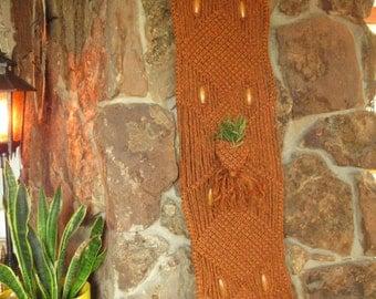 Vintage Macrame hanging planter, macrame wall hanging, fiber art wall hanging, weaving, boho decor, rust orange macrame with plant pocket