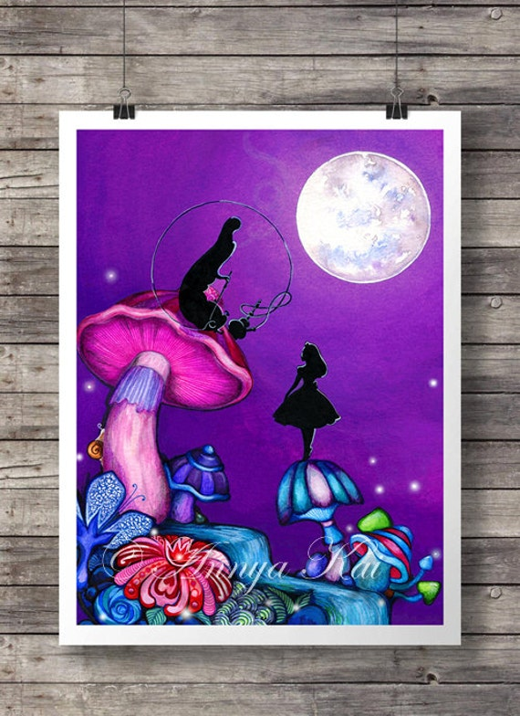 Alice in Wonderland with Caterpillar - Alice in Wonderland Decor - Whimsical Colorful Fantasy Wall Art - Original Alice Artwork