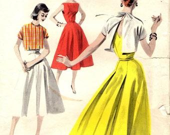 Butterick 7755 SUNDRESS with Back Fullness ©1956 Bust 38 Sundress & Back-Tie Jacket: