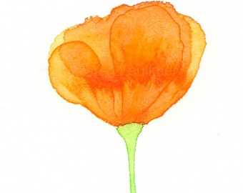 "Orange poppy flower watercolor art print: ""California Poppy"""