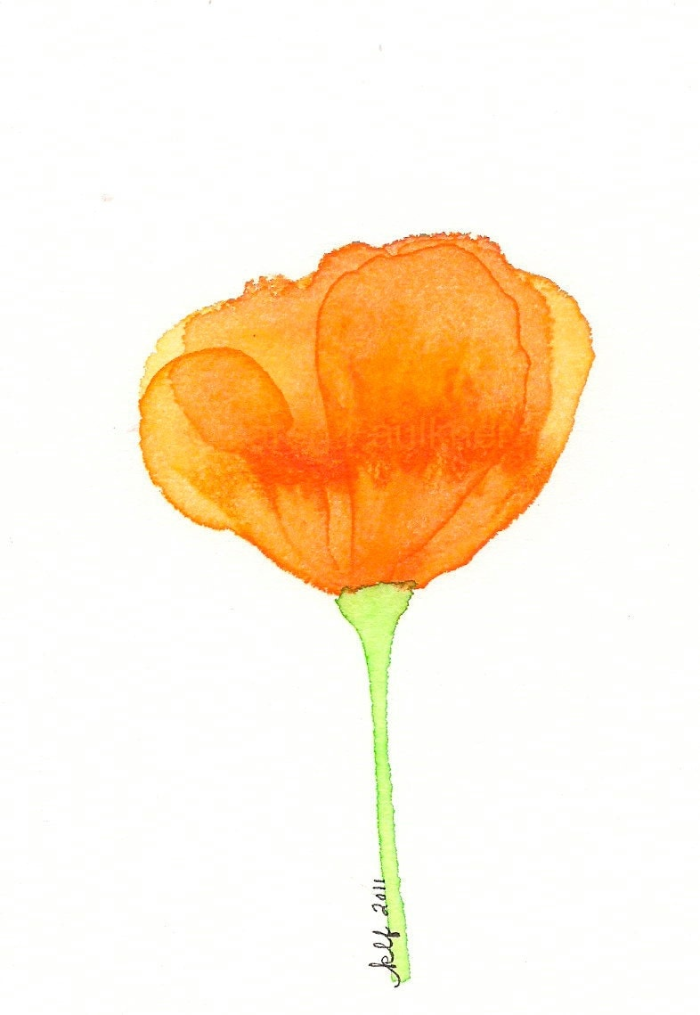 Orange Poppy Flower Watercolor Art Print California
