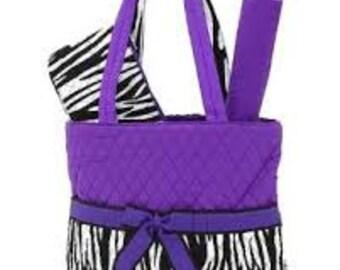 Purple, Black, and White 3 Piece Monogrammable Diaper Bag