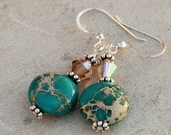 Blue Jasper Stone Earrings, Brown Swarovski Crystals, Sea Jasper, Ocean Beachy Earrings, Turquoise Blue, Sterling Silver ESEA