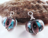 Purple and Blue Murano Glass Ear Drops for Earrings, Accented with Sterling Silver, Interchangeable, with or without Ear Wires