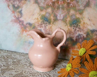 Vintage Miniature Shawnee Pitcher Peachy Pink Sweet Cottage Pottery