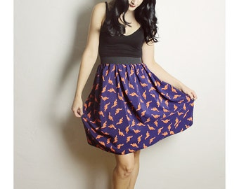 Handmade DINOSAUR Skirt - Blue Orange Dinosaur skirt - Dinosaur Middy skirt - Handmade navy blue Skirt - Lynns Rags long skirt